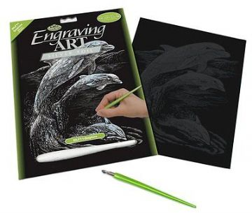 ENGRAVING ART SET - DOLPHINS (SILVER FOIL) by ROYAL & LANGNICKEL